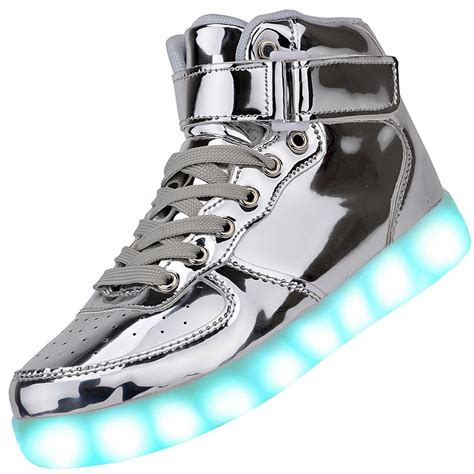 silver light up shoes high top usb charging led light up shoes
