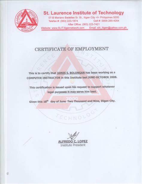 web design certificate jobs certificate of employment st laurence institute of technology
