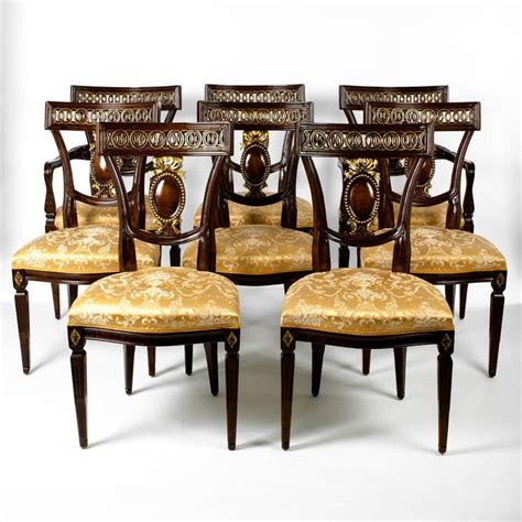 european dining room furniture vintage european mahogany wood eight dining chairs for