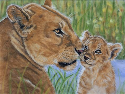 lioness and cub pastels by sarahharas07 on deviantart