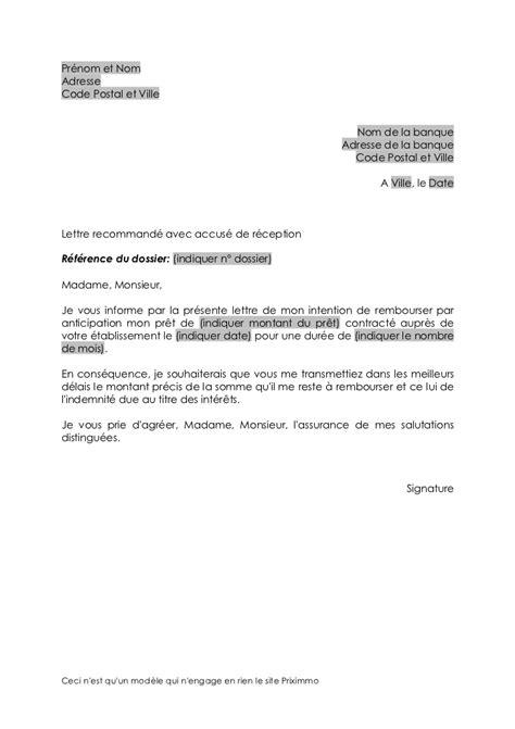 Lettre De Remboursement Free Modele Lettre Remboursement Anticipe De Pret Document