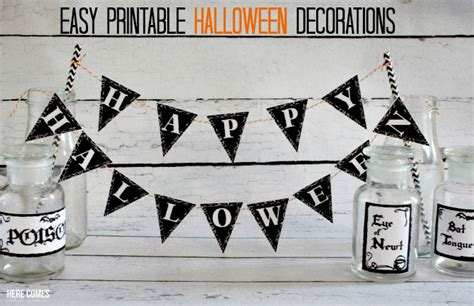 printable halloween decorations black and white easy printable halloween decorations here comes the sun