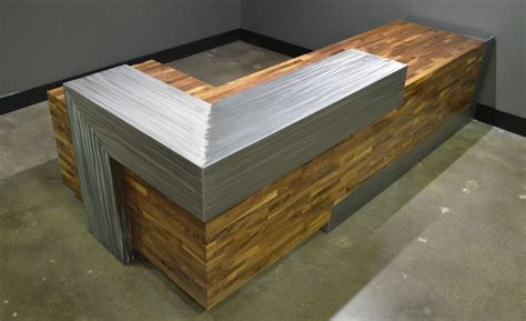 Custom Made Reception Desks Buy A Crafted Modern Reception Desk Made To Order From Metaltree Furniture Llc