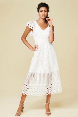 buy white one shoulder lace dress from the next uk shop