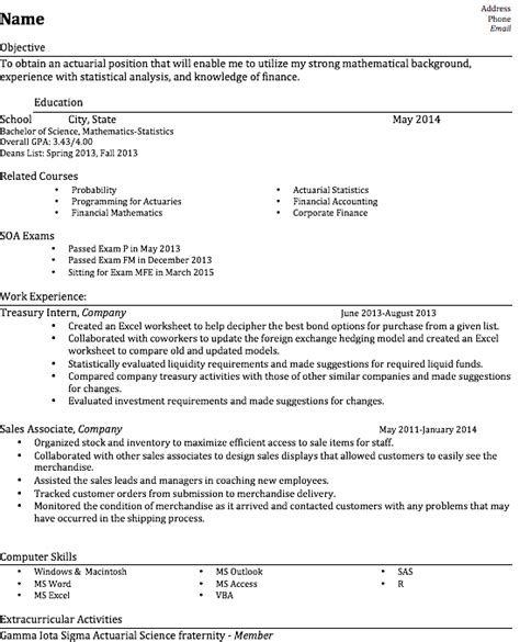 Resume and Cover Letter Help : actuary