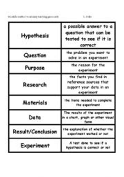 scientific method worksheet elementary scientific method vocabulary matching