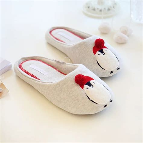 Fashionable Men S House Slippers With Flock And Cartoon Design | spring and autumn new fashion cute cotton penguin mens