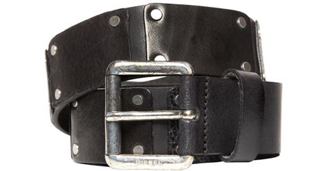 Diesel 7291 Black Leather diesel leather patches belt in black for lyst