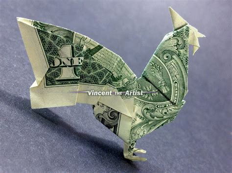 Origami 20 Dollar Bill - rooster money origami dollar bill vincent the artist