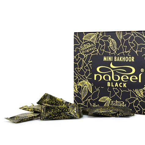 Nabeel Black Bakhoor mini bakhoor black incense by nabeel 108gm box of 36 x 3gm