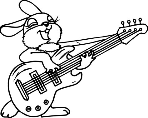 girl guitar coloring page girl bunny anima playing the guitar coloring page