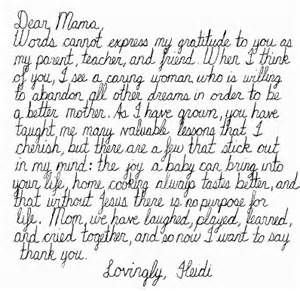 Example Thank You Letter Mom thank you letter to mother thank you letter 2017