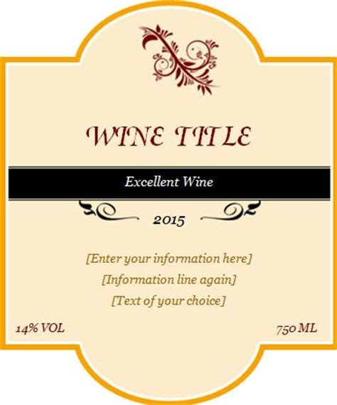 custom label template custom design wine label template word excel templates