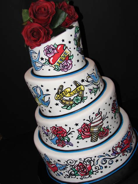 cake tattoos 1950 s themed wedding cake cakecentral