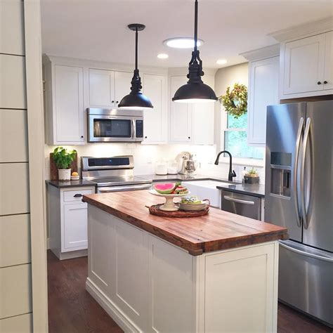 modern farmhouse kitchen white inset cabinets butcher