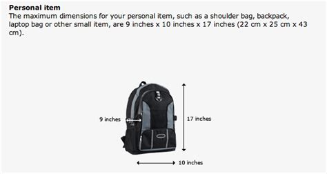 united baggage size airlines personal item under seat is a backpack a personal item