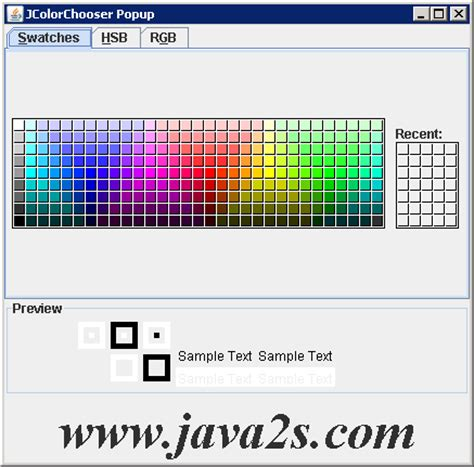 colors in java swing listening to color selection changes jcolorchooser