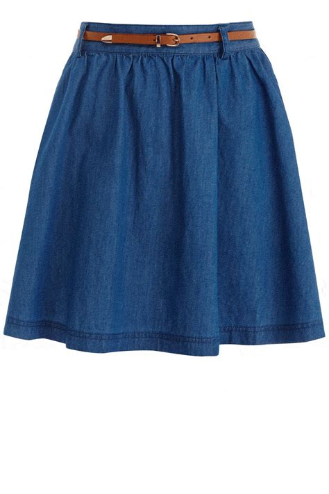 oasis lillie skater skirt in blue denim lyst