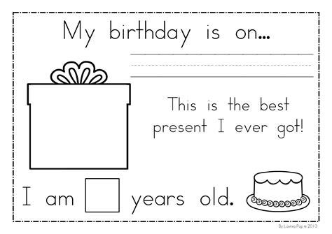 printable birthday activity sheets me book kindergarten nana