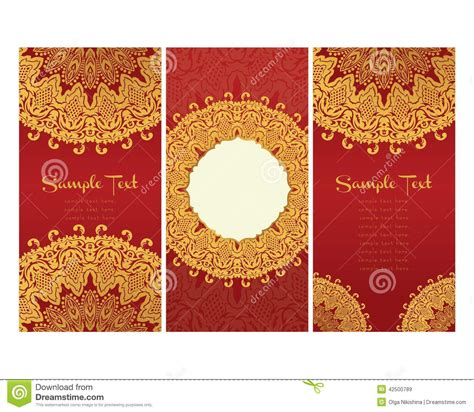 wedding invitation design red motif greeting cards in east style on red background stock