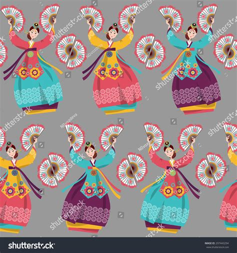 korean pattern background korean women performing a traditional fan dance korean
