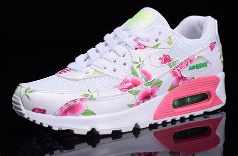 Nike Airmax Flower Pink nike air max 90 white pink green flowers custom runing shoes