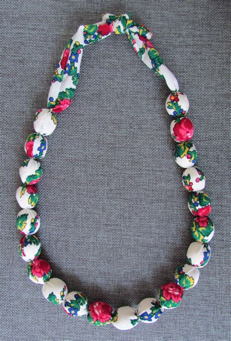 Handmade Fabric - handmade fabric beaded necklace wooden in white