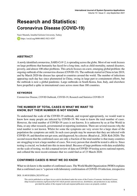 (PDF) Research and Statistics: Coronavirus Disease (COVID-19)