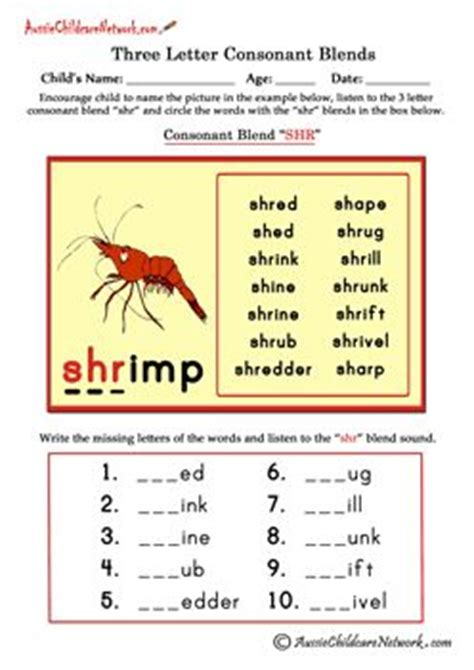 free three letter consonant blends worksheets beginning