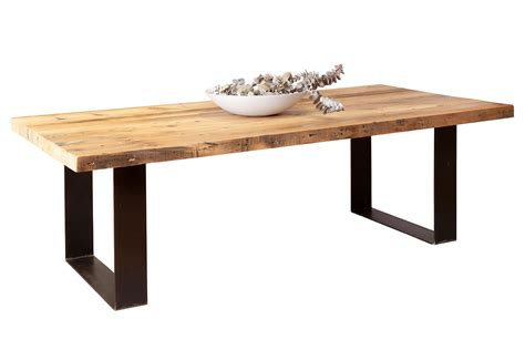 Recycled Baltic Timber Dining Tables With Steel Base