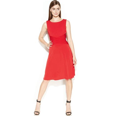 Ck Calvin Klein Sleevlees Dress calvin klein sleeveless shutter pleat dress in lyst