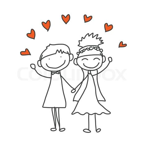 Wedding Wishes Drawing by Drawing Happy Wedding Stock Vector
