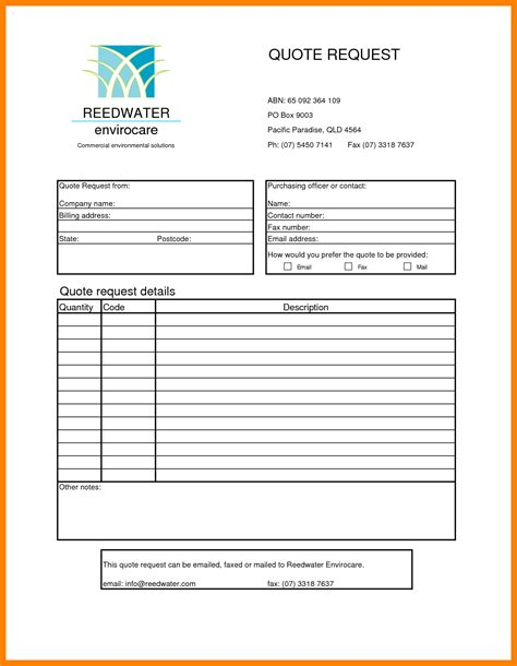 Sample Form 6 sample quote form protect letters