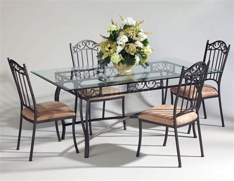 Metal Dining Table And Chairs 0710 Dining 5pc Set By Chintaly W Rectangular Glass Top Table