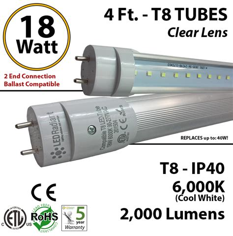 led t8 ls without ballast 4 foot led tube light 18 watt t8 2000 lm 6000k clear