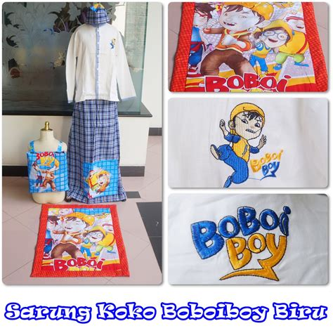 Sarung Instant Boboiboy Merah Size L jual koko anak boboiboy biru size xs motif cantik harga murah