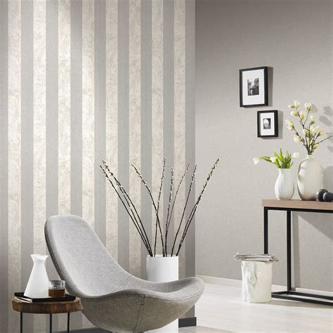 glitter wallpaper lounge p s carat glitter stripes wallpaper cream silver 13346