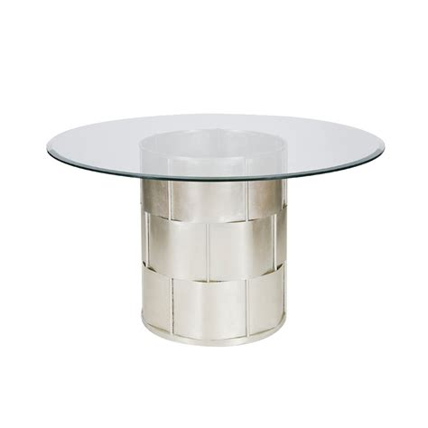 Worlds Away Amanda Silver Leaf Basketwave Dining Table Dining Table Base Only