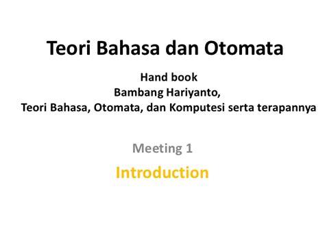 Teori Bahasa Otomata teori bahasa dan otomata 1