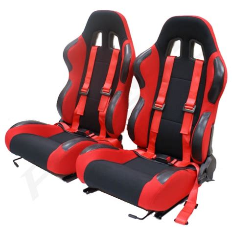 reclining car seats red reclining bucket car seats with racing harnesses ebay