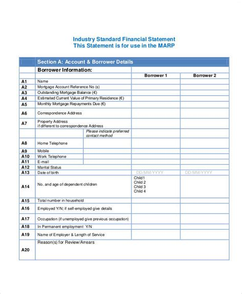 Statement Form In Pdf Financial Documentation Template