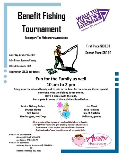 fishing tournament flyer template donations for benefit tournament