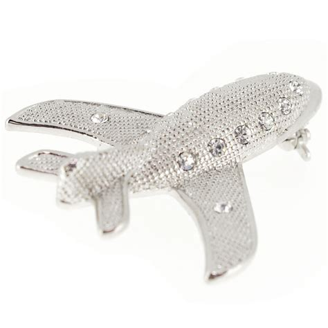Plane Brooch silver airplane brooch pin fantasyard costume jewelry