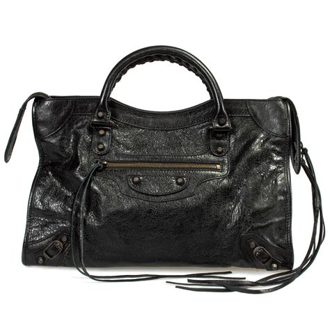 Nicky And Balenciaga City With Hardware by Balenciaga Classic City Lambskin Bag Black W Aged Brass