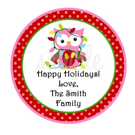 personalized owl christmas stickers holiday gift tags