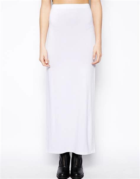 asos maxi skirt with splits in white lyst