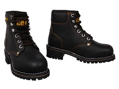 Caterpillar Leather Boots Safety Toe Black womens caterpillar cat logger leather steel toe cap safety work boots size 3 8 ebay