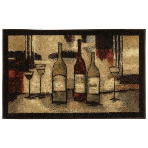 mohawk wine and glasses 3 piece printed kitchen rug set authentic mohawk home new wave wine and glasses printed