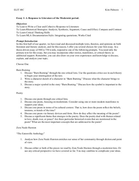 Modernist Essay by Story Poetry And Modernist Topics