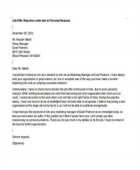 offer rejection letters sample format